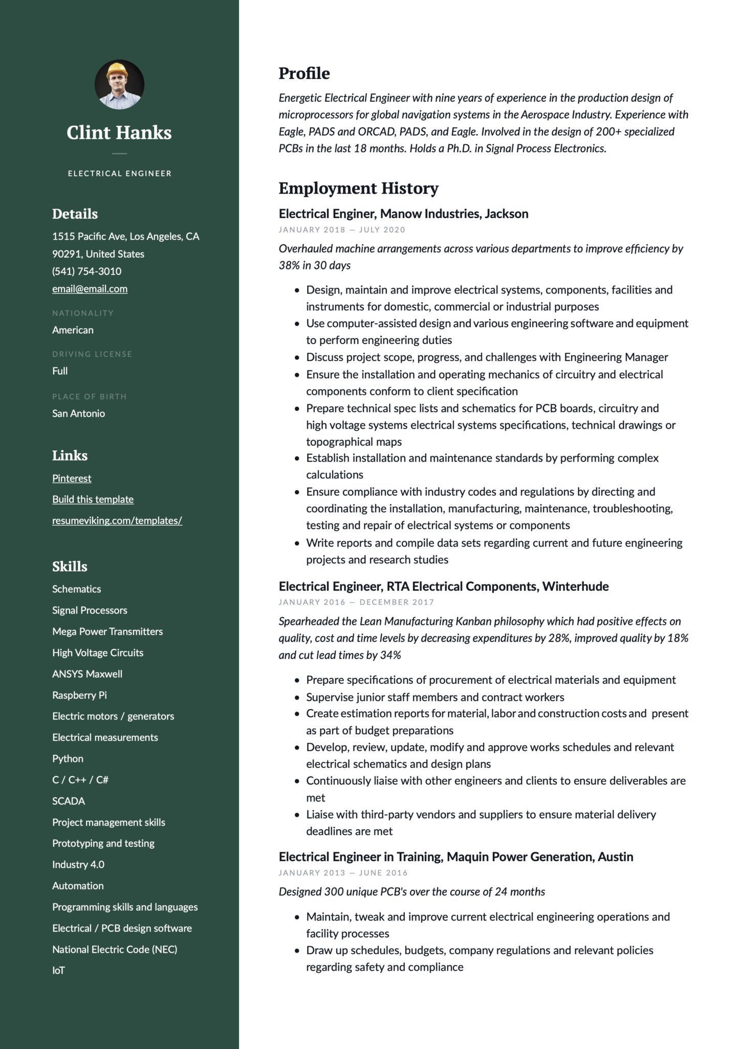Professional Green Resume Example Electrical Engineer