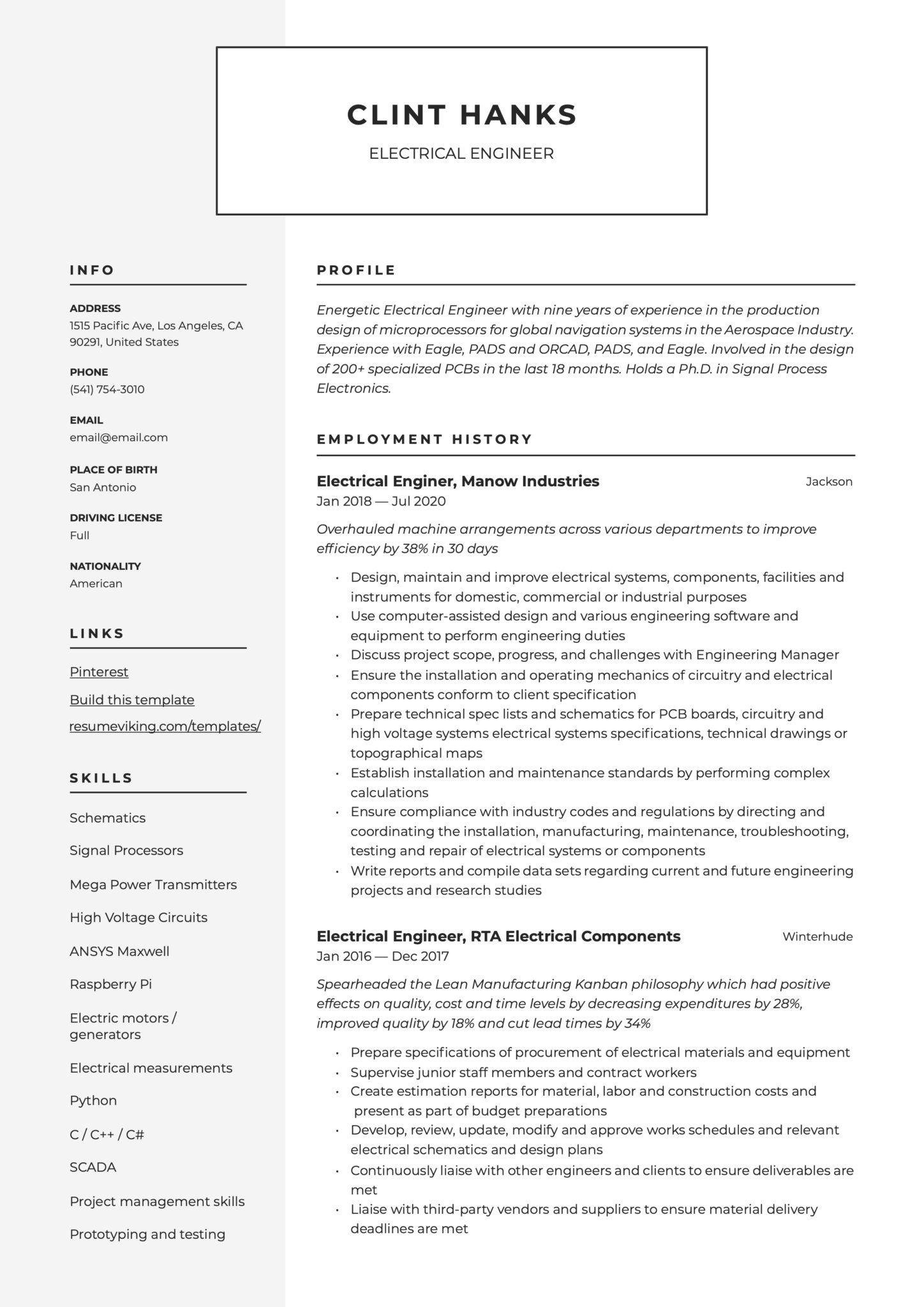 Modern Resume Example Electrical Engineer