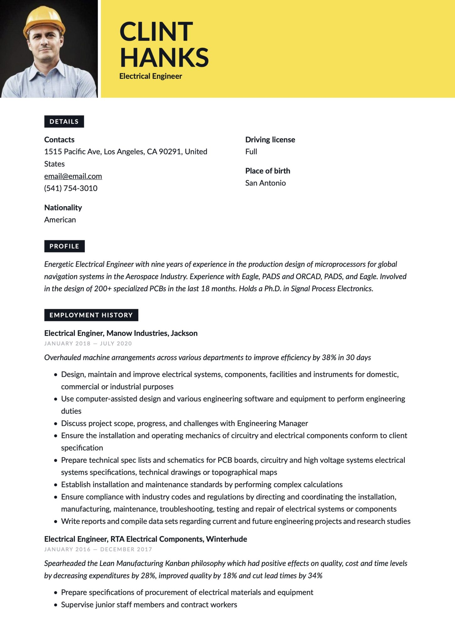 Creative Yellow Resume Template Electrical Engineer