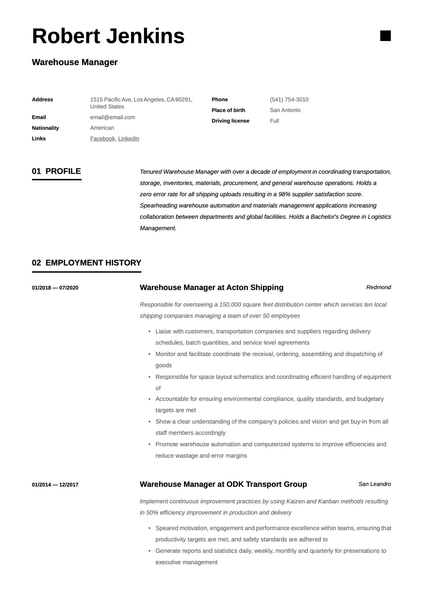 warehouse manager resume  writing guide  18 templates