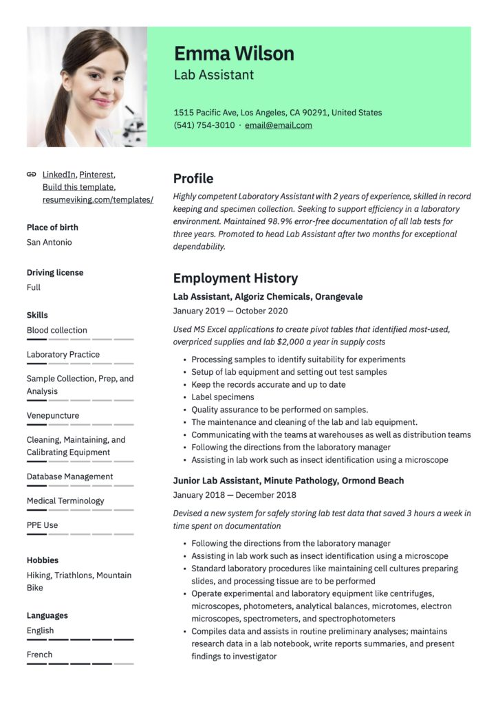 Professional Lab Assistant Resume Green Template