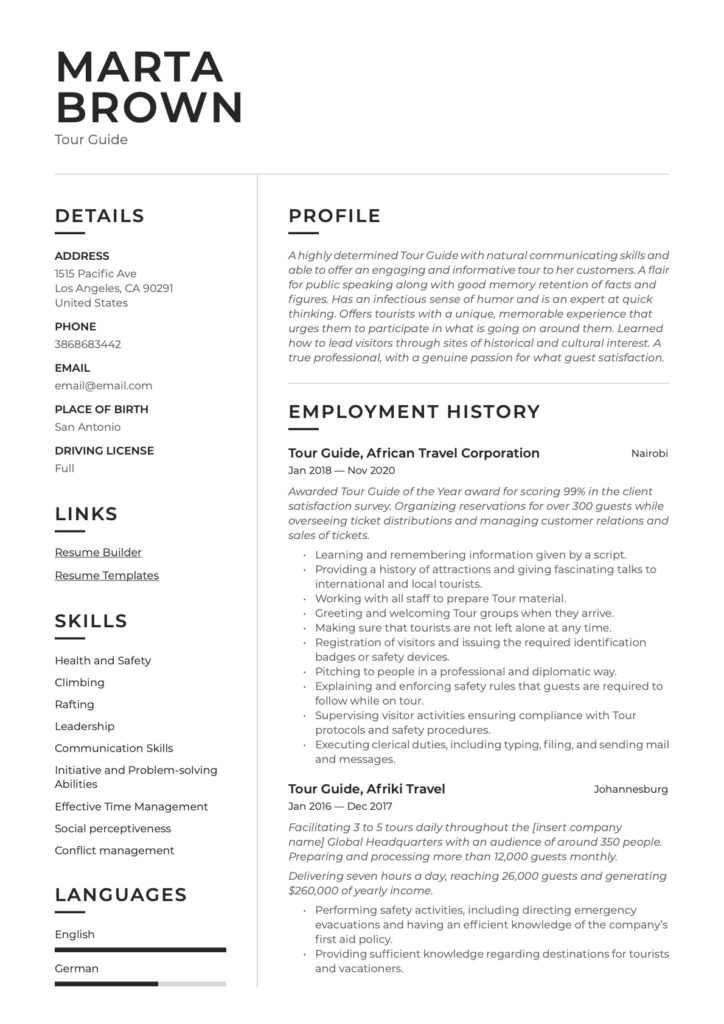 tour guide resume  writing guide  20 templates
